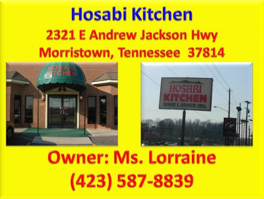Hosabi Kitchen is a Chinese and Japanese Grill located at 2321 E Andrew Jackson Hwy, Morristown, Tennessee  37814