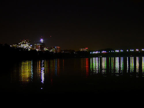 View of Rosslyn and Key Bridge from Georgetown Harbor