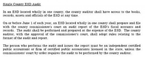 ESD reports yearly audit to county commissioners.