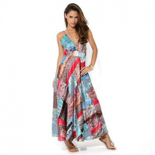 Contemporary Patchwork, Empire Line, Maxi Dress