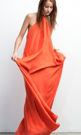 Orange Halter Neck Maxi Dress for Spring? - but I'm not sure about this baggy style!