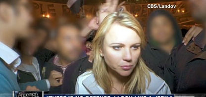 CBS fuzzied the faces of the men behind Lara prior to the attack in order to protect the men.
