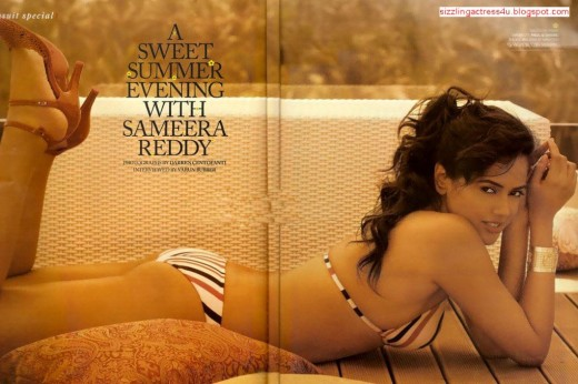Sameera in a swimsuit.