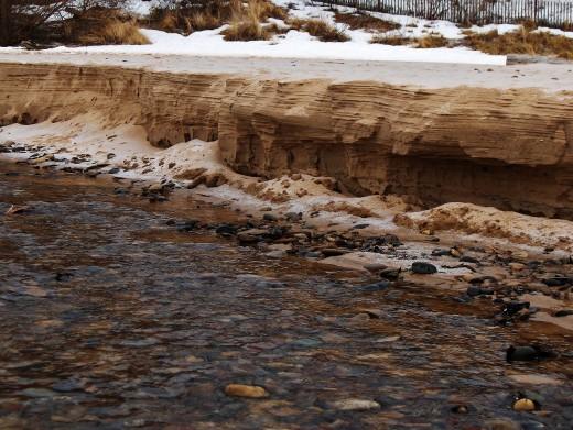 Pier Cove Creek frozen sand banks