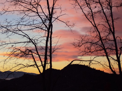 Vibrant and bold colors of a spectacular sunset in the San Bernardino Mountains.