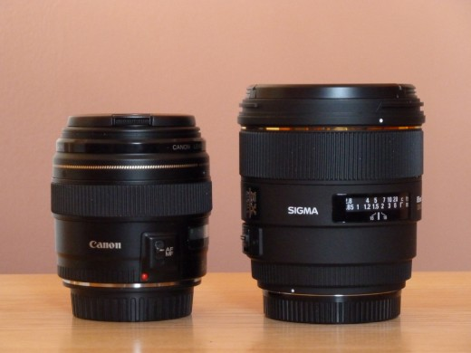 Here are the same two lenses, this time, the Sigma 85mm lens is naked (no hood), but it still dwarfs the Canon lens.