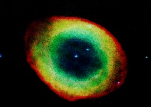 M57 or The Ring Nebula is a fairly bright planetary nebula located in the constellation Lyra. A small telescope reveals its smoke ring like shape.