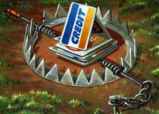 visual of credit card trap with animal trap