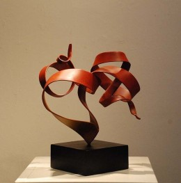 """Sweet"", 2008. Feng Jin. Patina-finished Stainless Steel and Painted Steel Base. 9 x 15.5 x 17.5"
