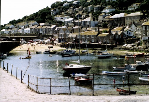 Looking across to the tiny harbour beach.