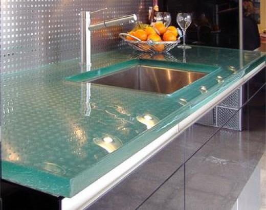 Glass Countertops - Aqua Teal Turquoise Kitchen Design Idea