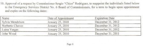 January 25, 2011. County Commissioners agenda as pertaining to the ESD6 appointments. Two agenda's back and No Joe Hearn.