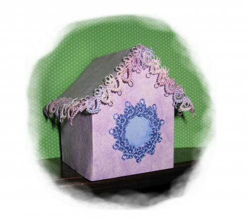 Tatted Lace on Craftlicious Mini Birdhouse