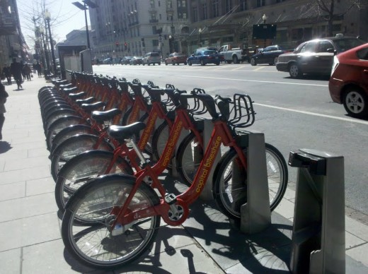 Some cities, such as Washington, D.C. and Arlington, Virginia, have bike-sharing programs that make easier and healthier to get around town.