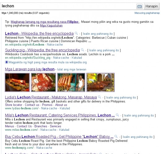 "Screenshot of Google's search results for keyword ""lechon"""
