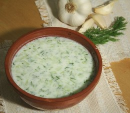 Tarator is a cold soup made of yogurt and cucumber (dill, garlic, walnuts and sunflower oil are sometimes added), popular in Bulgaria. source Wikipedia - Health Benefits of Yogurt, Yoghurt, Yogourt or Yoghourt