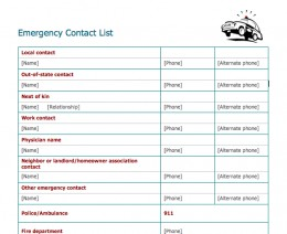 Emergency Contact Template. 6 emergency contact template outline ...