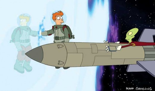 Fry enters the other universe, Kif's death is imminent.