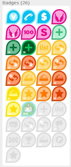 These are some of the badges you can earn and what they look like!