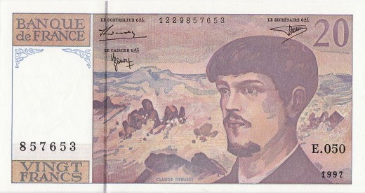 Hey, why don't we have composers on our money?  A 20-franc note bearing the likeness of Claude Debussy.  Image courtesy Dwight Burdette and Wikimedia Commons.