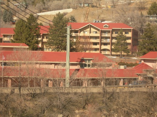 View of Hotsprings Pool and Spa Hotel from Glenwood Springs Train Station