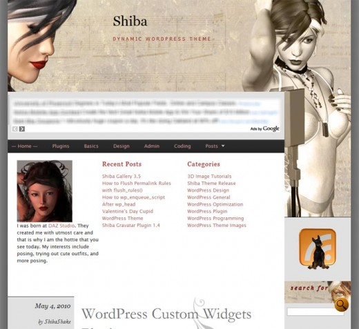 Screen-shot of the Shiba WordPress theme which is widget-ready in the header, footer, and sidebar areas.