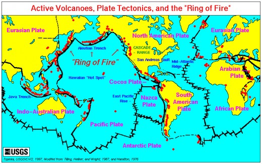 Danger zones:  A map of the world's tectonic plates and where active volcanoes are found