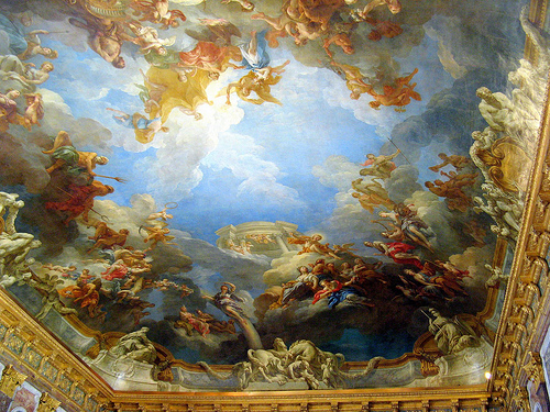 One of countless depictions adorning the ceilings of the Chateau de Versailles