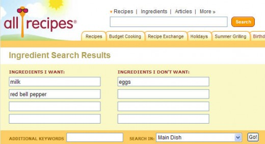 Allrecipes.com allows you to search for recipes according to ingredients you want to use.
