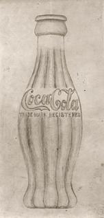 Original drawing in 1915, designing coca-cola's trademark bottle