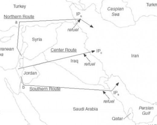 Map showing possible Israeli air routes to Iran