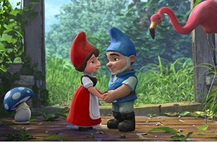 Juliet and Gnomeo with their friends Shroom and Featherstone
