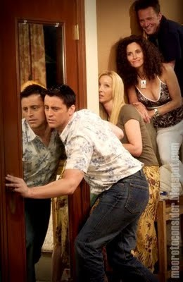 """The cast of """"Friends"""" eavesdropping."""
