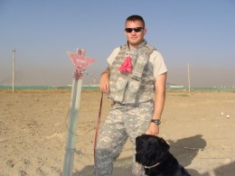 Myself and my dog in Afghanistan