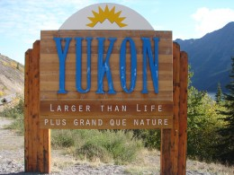 Yukon sign as we crossed into the Yukon Territory from British Columbia, Canada.