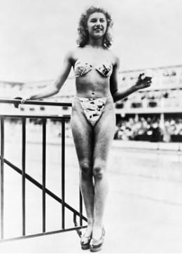 Micheline Bernardini models the worlds first bikini, in 1946.  (Bettmann/Corbis)