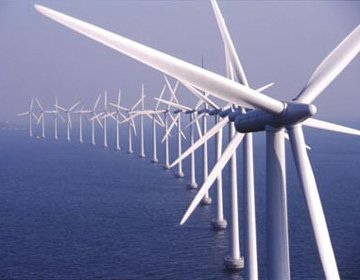 Off-shore wind turbines collect energy in Europe.