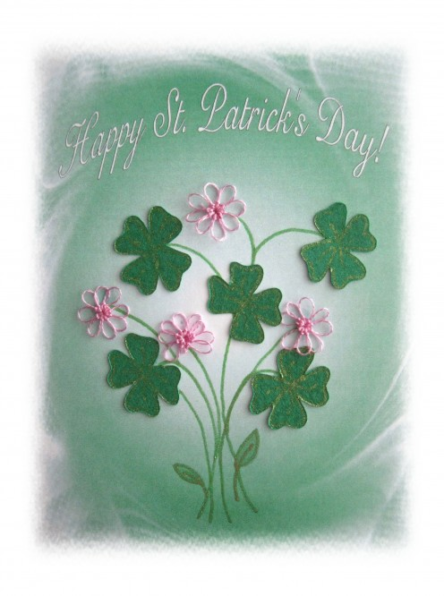 Craft Pens, Cricut, Sure Cuts A Lot, PC Software,Printer and Tatting the Tiny Flowers creates this St Pat's card. A Craftlicious Original