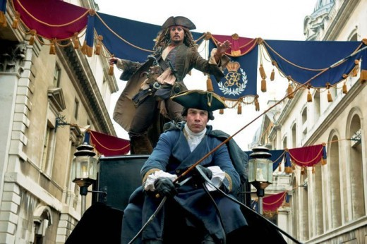 Jack Sparrow is escaping from clutches of King John by leaping between moving carriages @ Pirates 4 movie wallpaper