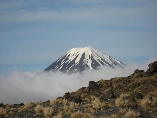 North Island snow capped volcanic peak in Tongariro National Park.