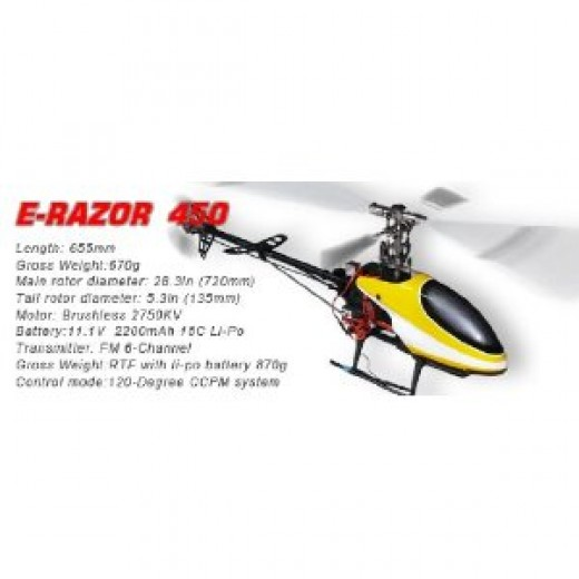 6 Channel E-Razor 450 Metal RC Helicopter 100% RTF - Fully Upgraded! Ready for 3D