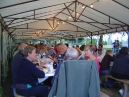 Twice  a year local people organise a fundraising meal on the banks of Videix lake