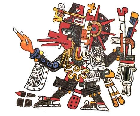 Quetzalcoatl, using attributes of the Wind God Ehecatl.