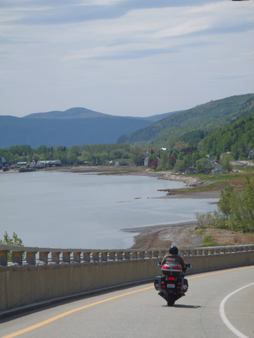 Motorcycle touring in the Charlevoix region of Quebec.