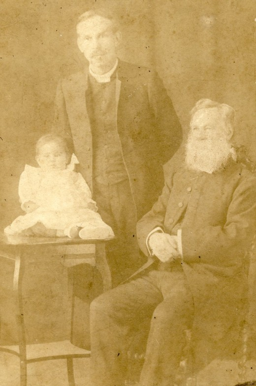 Murray McGregor (the baby!); his father, the Reverend Andrew Murray McGregor; and his father, the Reverend Andrew McGregor. Photo must have been taken around 1909 or 1910.