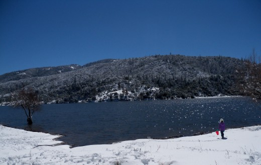We climbed to the top until we finally reached Lake Hemet. Were I am from, normally when there is this much snow on the ground, the lakes are usually frozen.
