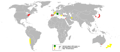 Italy is now the leading producer of kiwifruit followed by New Zealand, Chile, Greece, Japan and the United States.