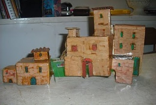 small cardboard houses for a Christmas crib