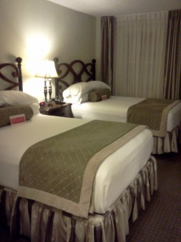 A room at The Inn on Bourbon.  Rooms are available overlooking the pool for more peace and quiet.