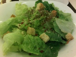 Traditional cesar salad. Maybe higher in calories because of the dressing, but this is almost, always my default choice of salad.